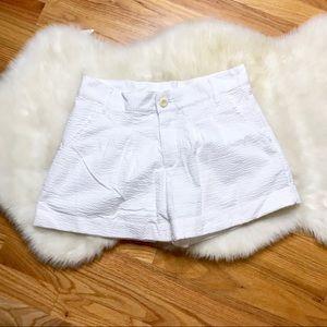 Lauren James white seersucker shorts